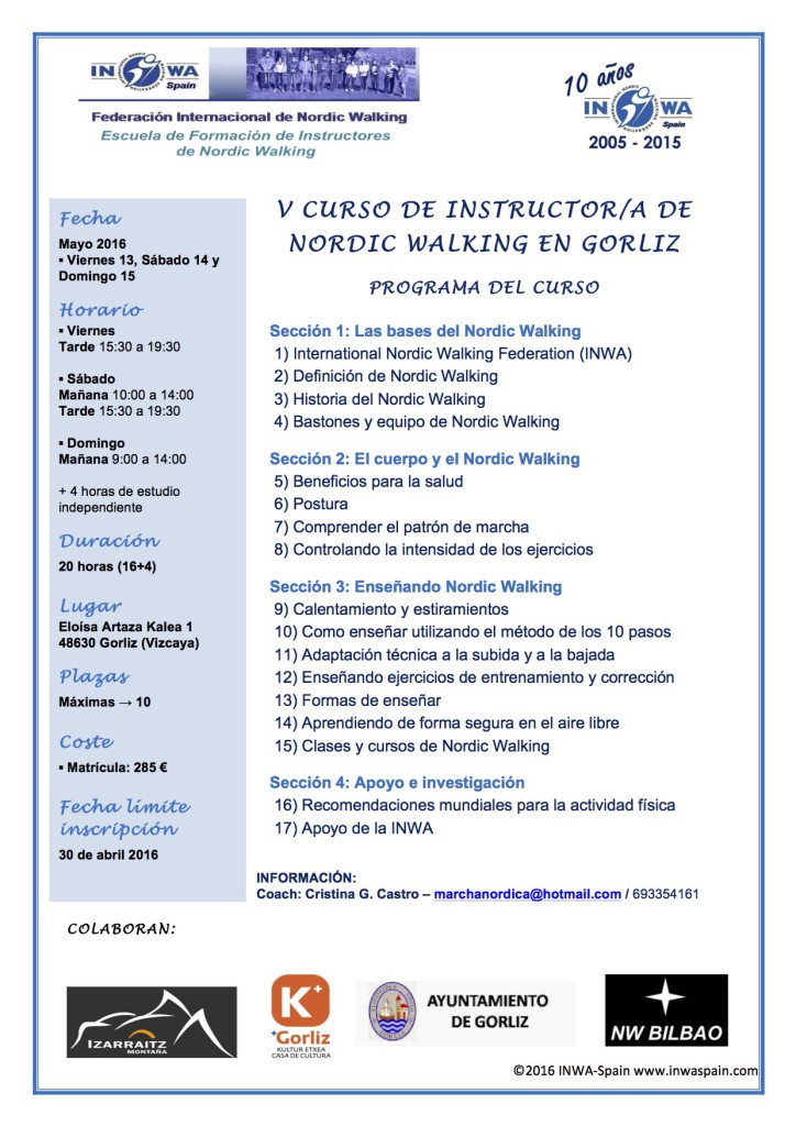 Curso Instructor/a Marcha Nórdica INWA